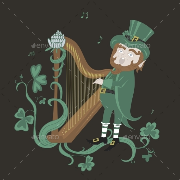 GraphicRiver Leprechaun Playing the Harp and Singing 11004451