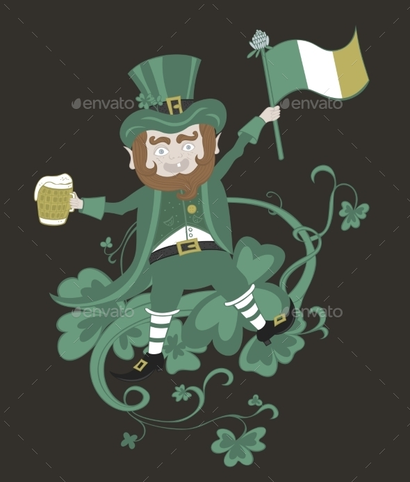 GraphicRiver Leprechaun with Flag Holding a Mug of Beer 11004453