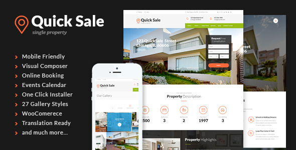 ThemeForest Quick Sale Single Property Real Estate Theme 11004473