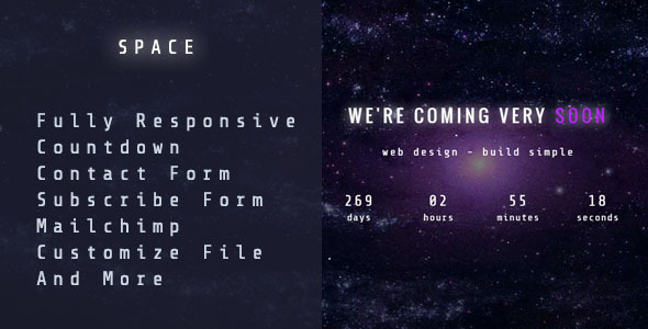 ThemeForest Space Responsive Coming Soon Template 10944223