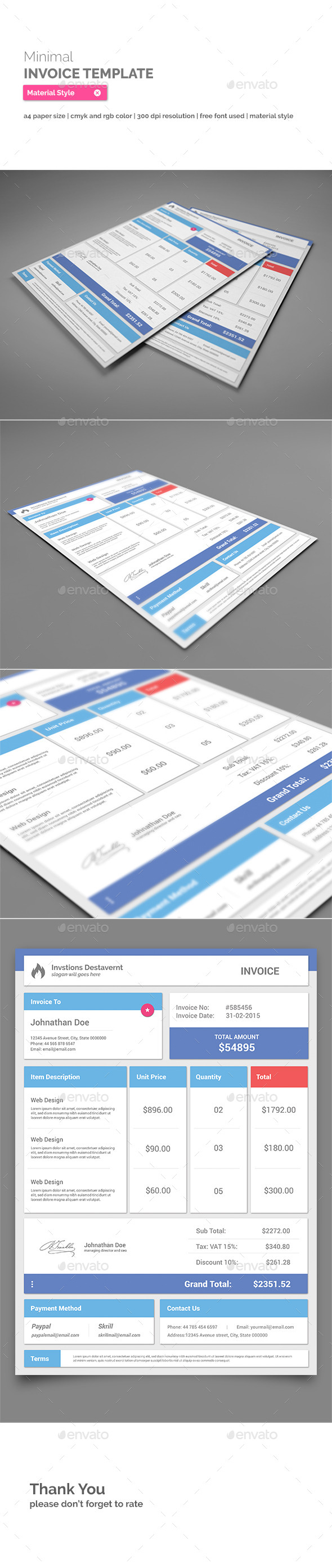GraphicRiver Invoice Template Material Style 11004600