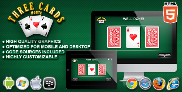 CodeCanyon 3 Cards Monte HTML5 Casino Game 11004679