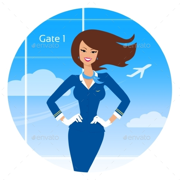 GraphicRiver Smiling Stewardess 11004792