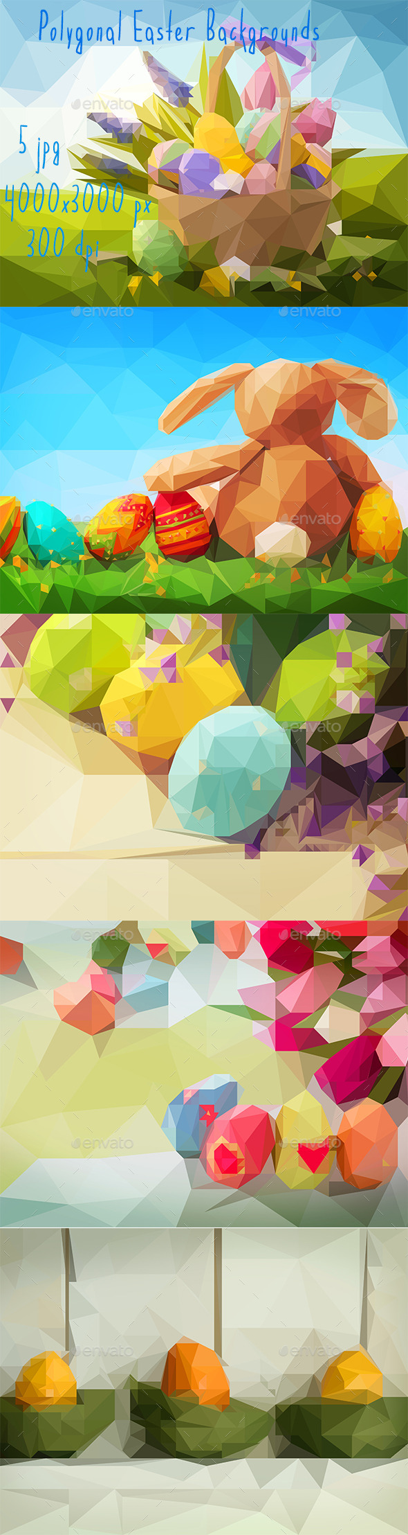 GraphicRiver 5 Polygonal Easter Backgrounds 11004989
