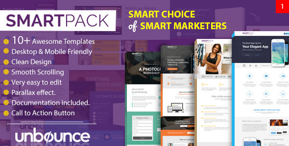 Smart Pack - Unbounce Multipurpose Creative Landing Page Pack