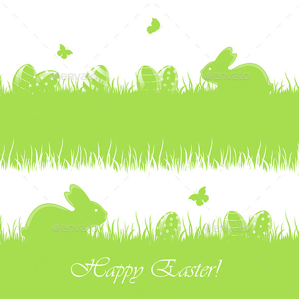 GraphicRiver Easter Background with Eggs and Rabbits 11005833