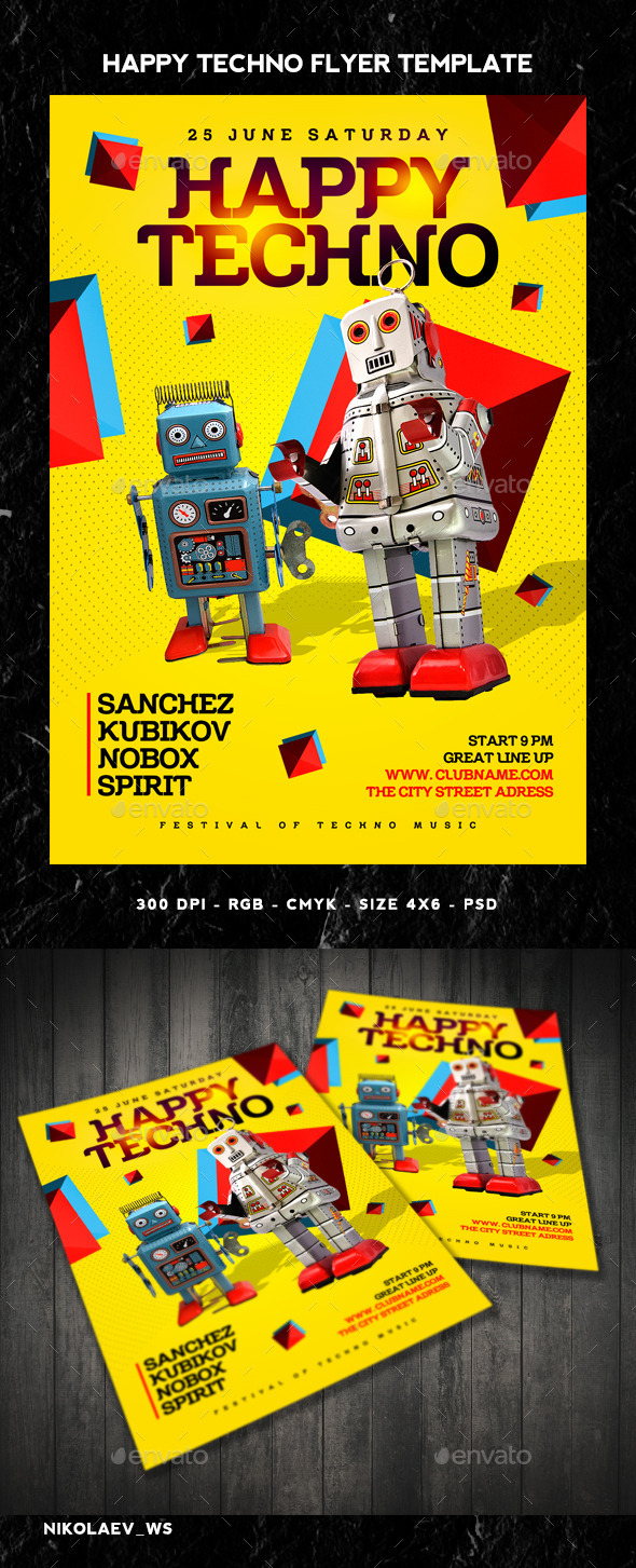 GraphicRiver Happy Techno Flyer 11006458