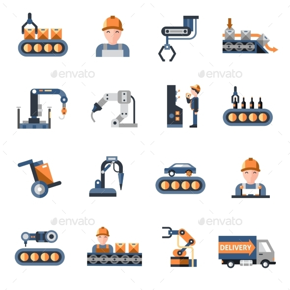 GraphicRiver Production Line Icons 11007221