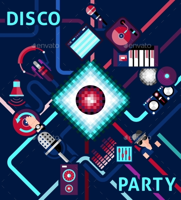 GraphicRiver Disco Party Background 11007223