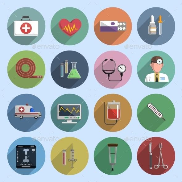 GraphicRiver Multicolored Medicine Icons 11007234