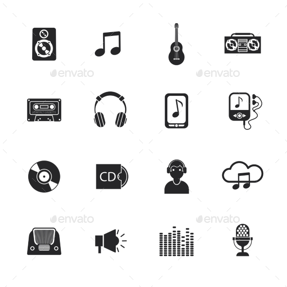 GraphicRiver Music icons set mobile black 11007253