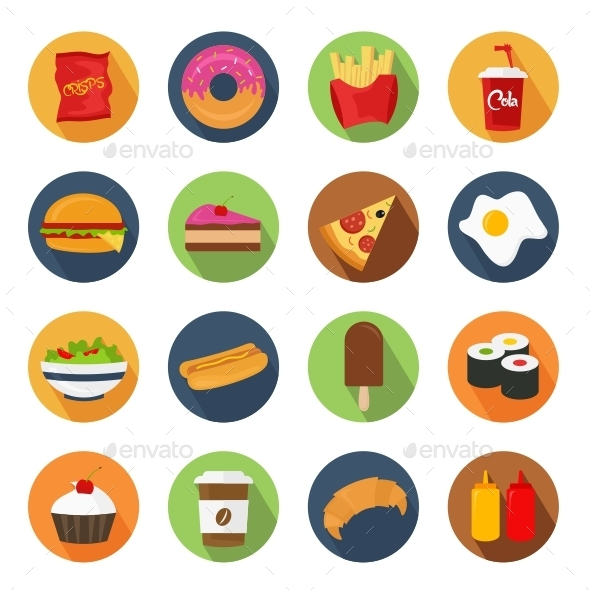GraphicRiver Fast Food Icons 11007270