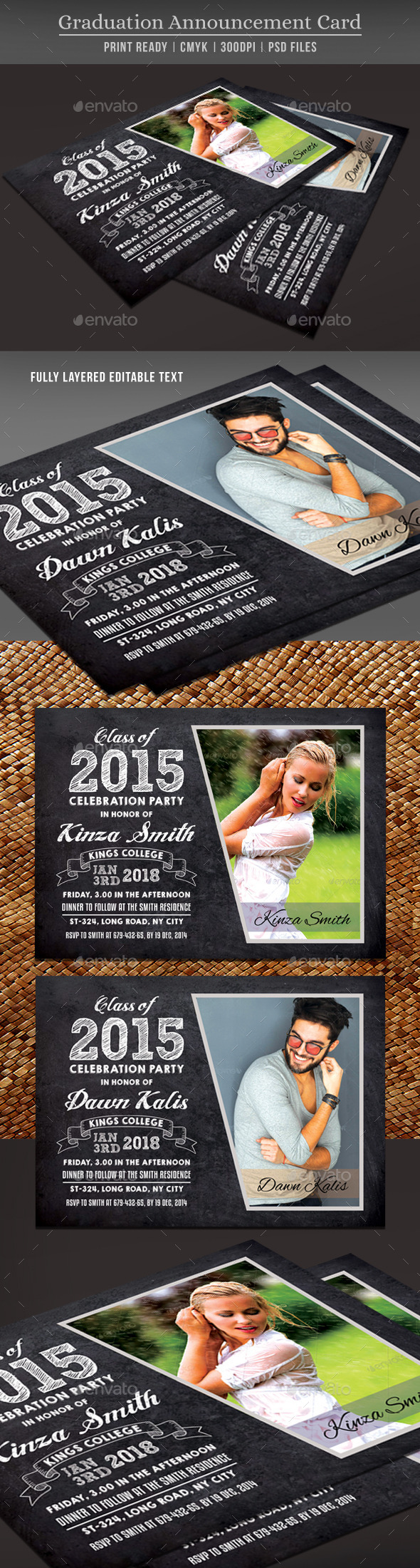 GraphicRiver Graduation Announcement Card 11007324