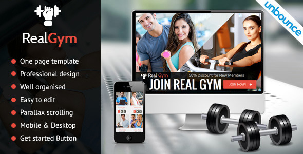 ThemeForest RealGym Unbounce Health Fitness Landing Page 11007480