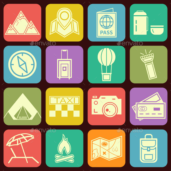 GraphicRiver Travel Flat Icons Set 11007701