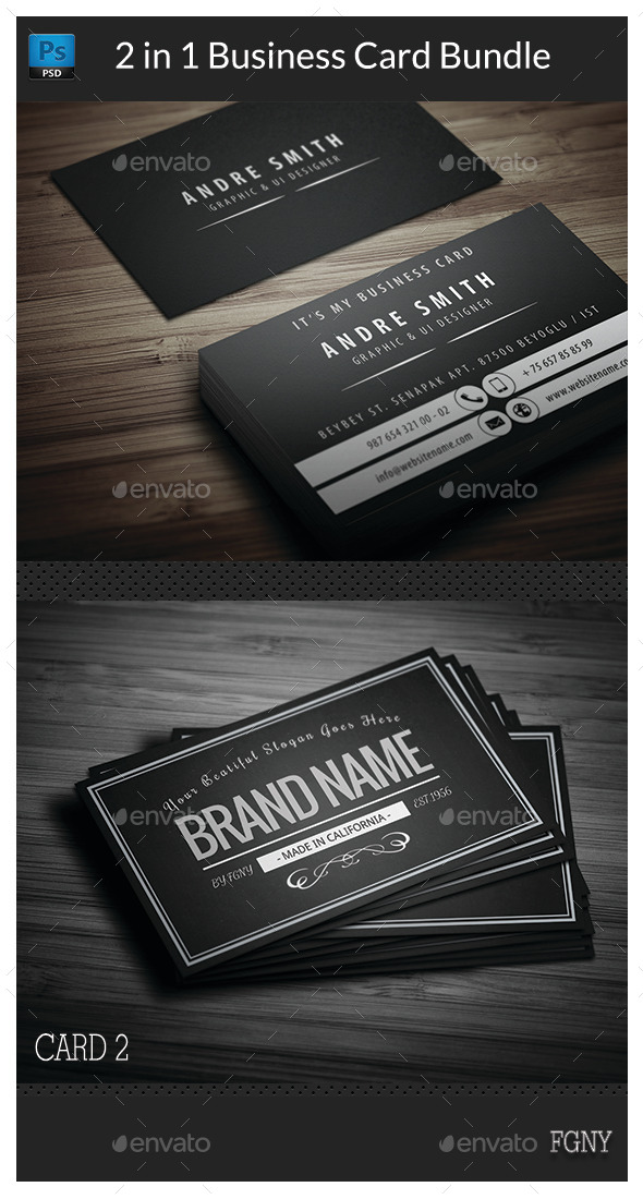 GraphicRiver 2 in 1 Business Card Bundle 11007768