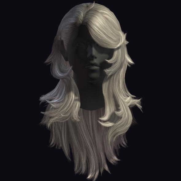 3DOcean Low Poly Female Hair 11007879