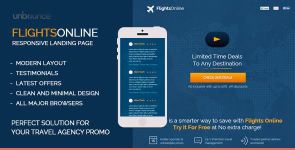 ThemeForest FlightsOnline Responsive Unbounce Landing Page 11007938