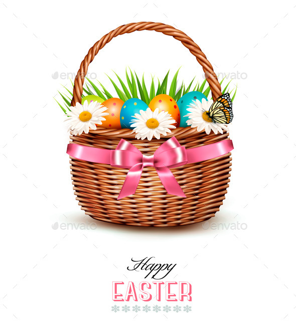 GraphicRiver Holiday Background with Basket Full of Easter Eggs 11008953