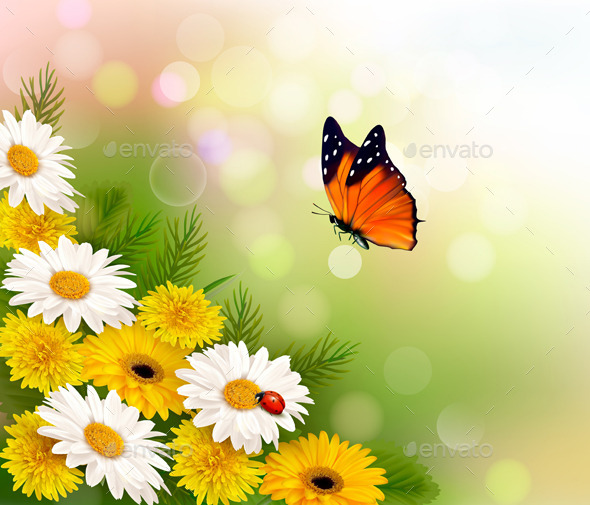 GraphicRiver Spring Background Flowers and a Butterfly 11008954