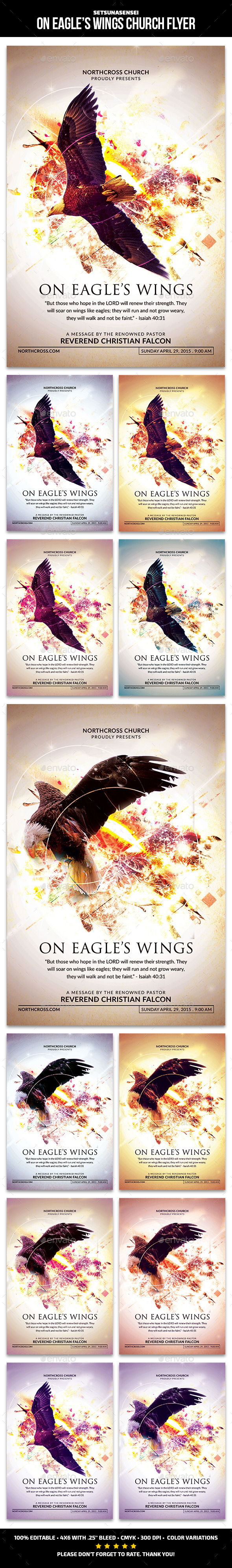 GraphicRiver On Eagle s Wings Church Flyer 11009108