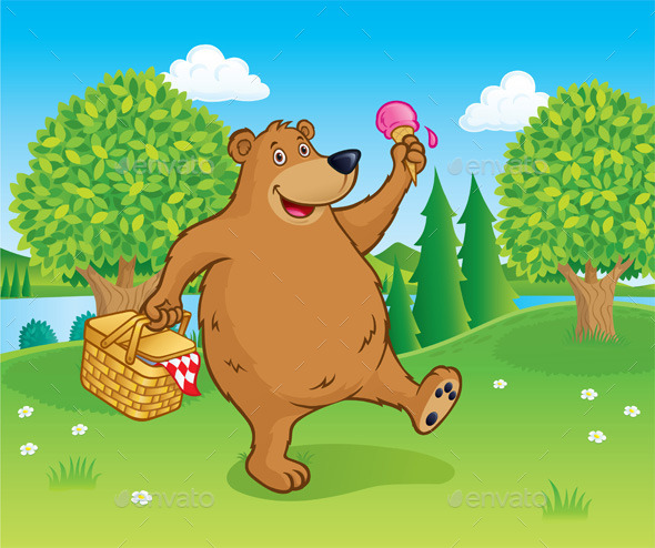 GraphicRiver Bear Walking with Picnic Basket Near a Lake 11009982