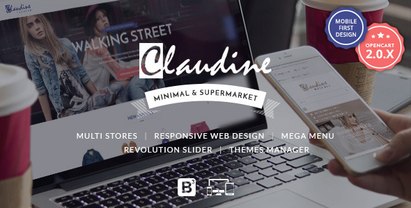ThemeForest Claudine Drag & Drop Responsive OpenCart Theme 11010123