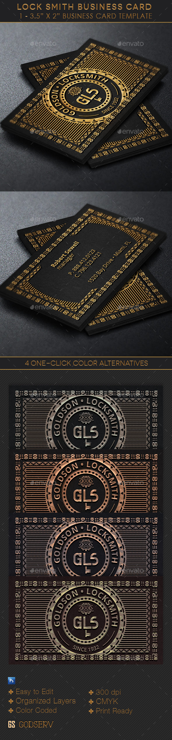 GraphicRiver Locksmith Business Card Template 11010124