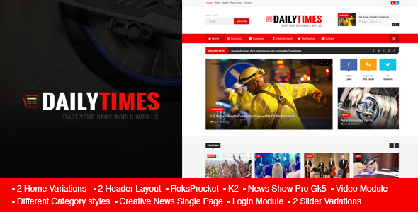 ThemeForest DailyTimes News and Magazine Joomla Template 11010259
