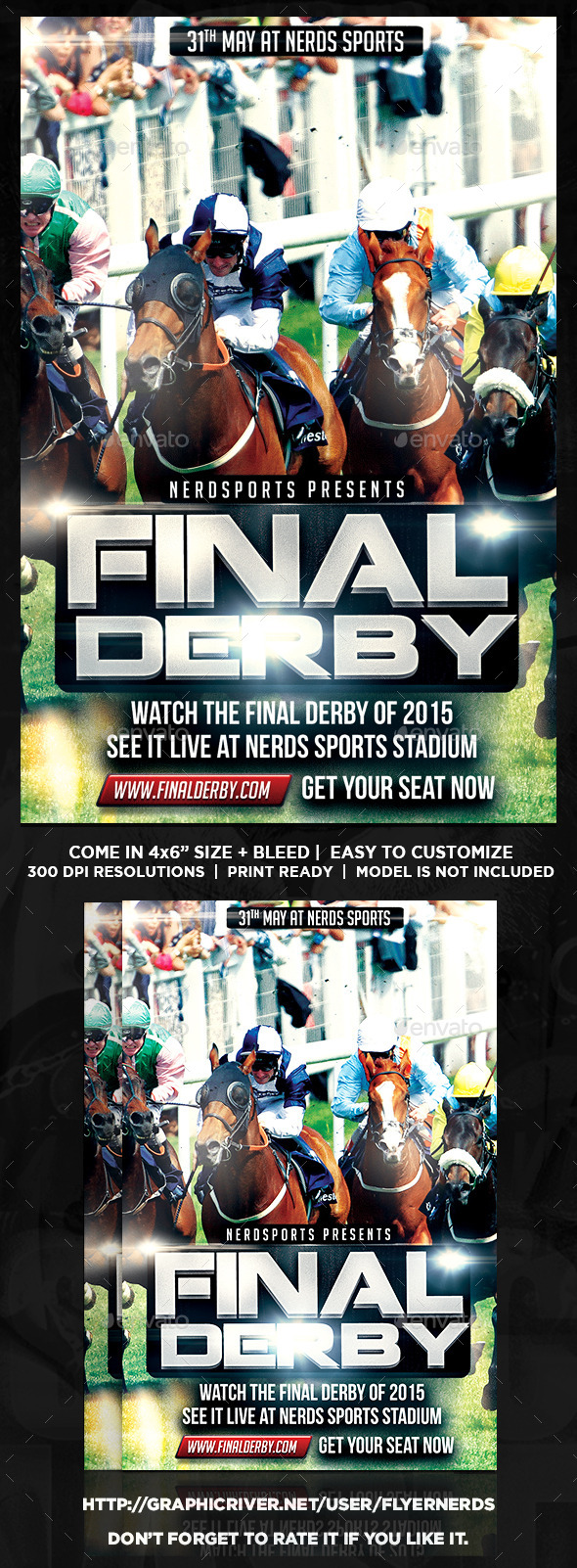 GraphicRiver Final Derby Horse Racing Championships Flyer 11010292