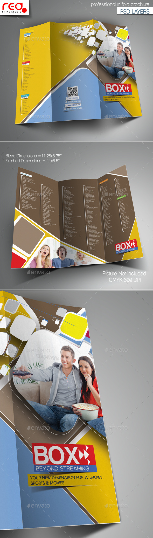 GraphicRiver Videos Streaming Trifold Brochure Template 10916866