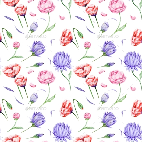 GraphicRiver Watercolor Floral Pattern 11010524