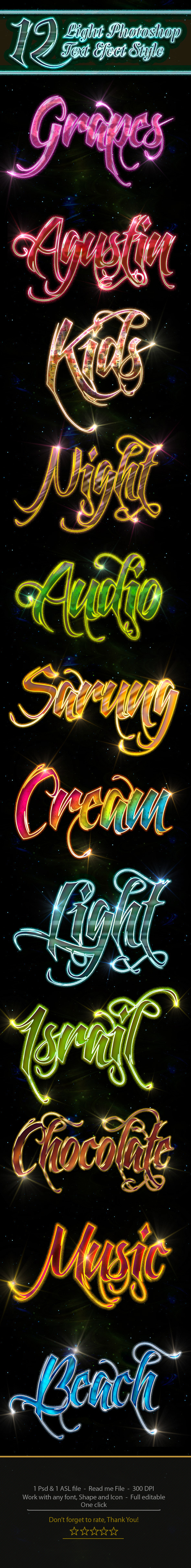 GraphicRiver 12 Photoshop Light Text Effect Style 11010566