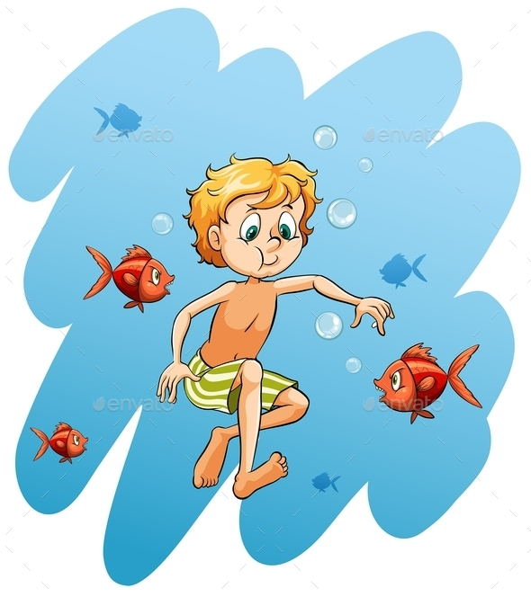 GraphicRiver Boy Surrounded by Fishes 11010582