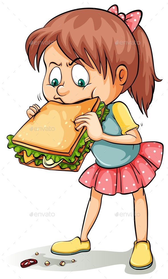 GraphicRiver Young Girl with a Sandwich 11010616
