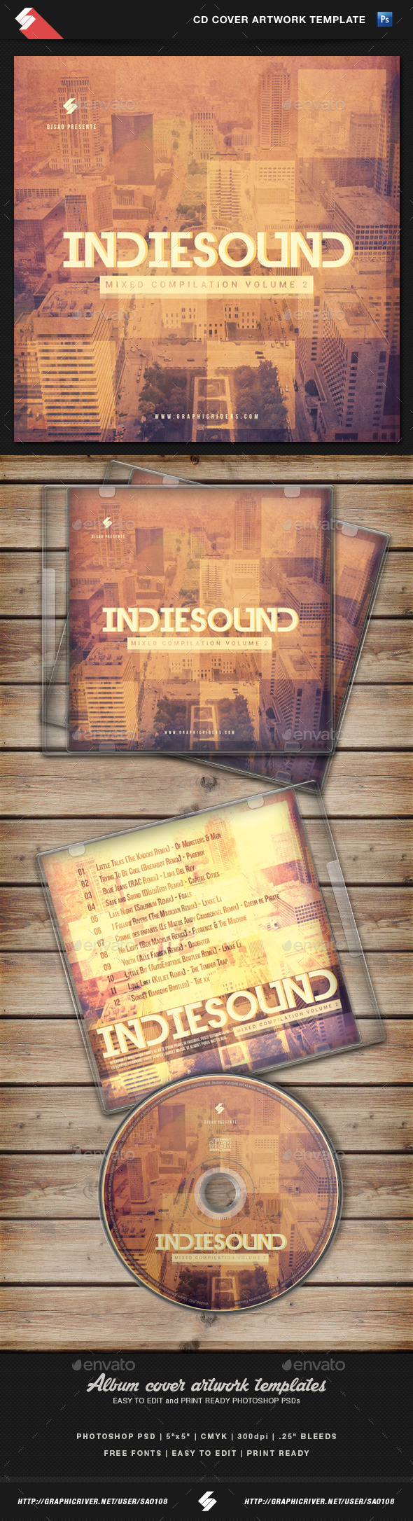 GraphicRiver Indie Sound vol.2 CD Cover Artwork Template 11010751