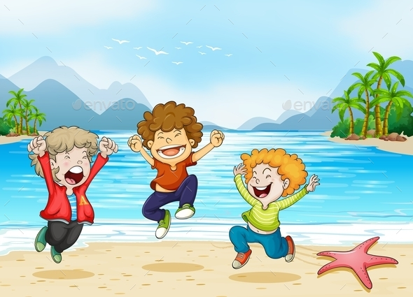 GraphicRiver Children and Beach 11010783