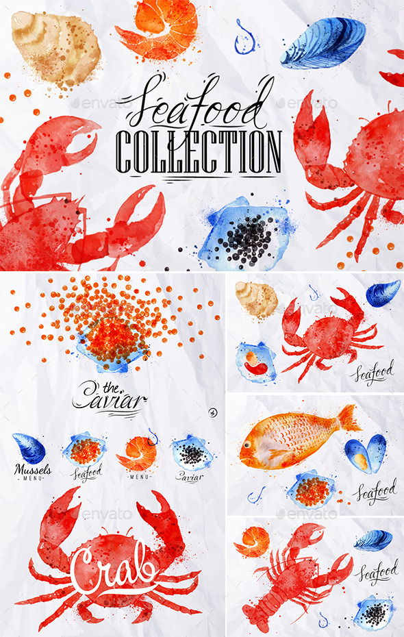 GraphicRiver Watercolor Seafood Signs 11006811