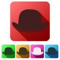 Set Flat icons of black gentleman bowler hat - PhotoDune Item for Sale