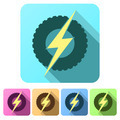 Set Flat icons of round wheel with lightning. Eco electric transport theme. - PhotoDune Item for Sale