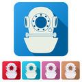 Set Flat icons of Underwater diving helmet. - PhotoDune Item for Sale