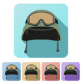 Set Flat icons of green military helmet with goggles - PhotoDune Item for Sale