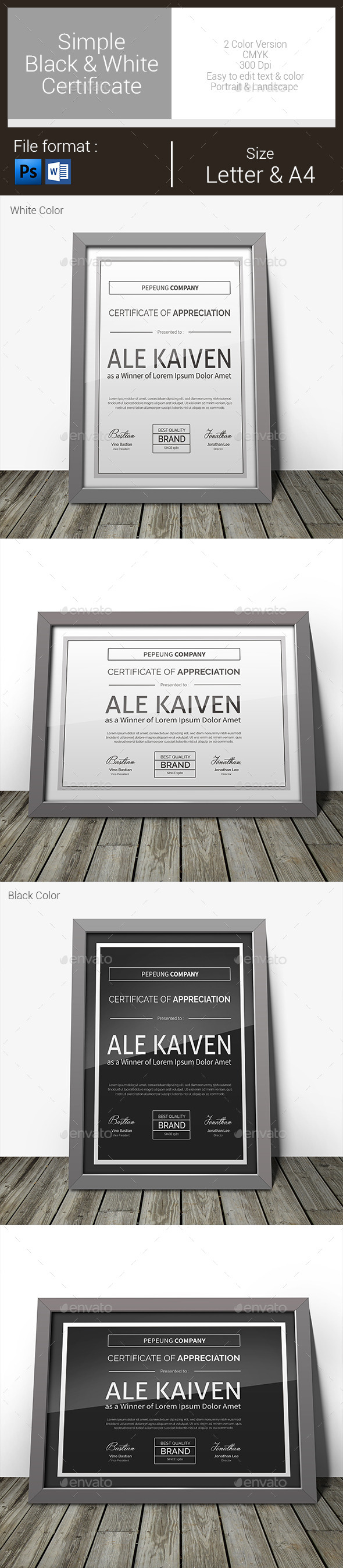 GraphicRiver Simple Black & White Certificate 11011366
