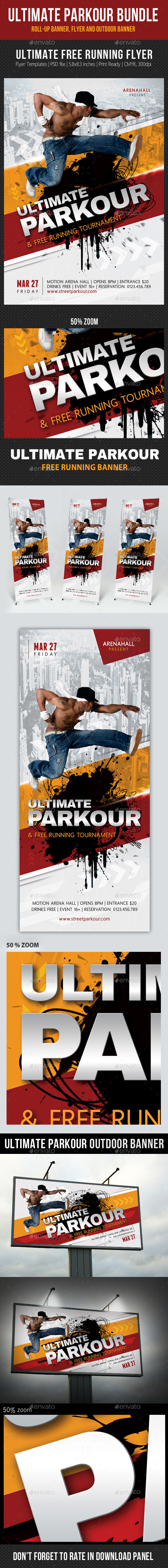 GraphicRiver 3 in 1 Ultimate Parkour Banners and Flyer Bundle 11011404