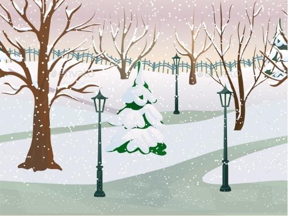 GraphicRiver Winter Park Landscape 11011491