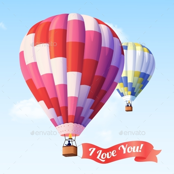 GraphicRiver Air Balloon with Ribbon 11011507