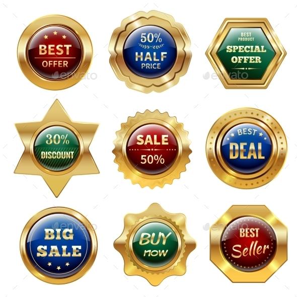 GraphicRiver Golden Sale Labels 11011518