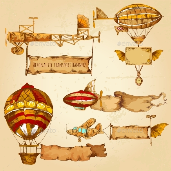 GraphicRiver Airships with Banners 11011626