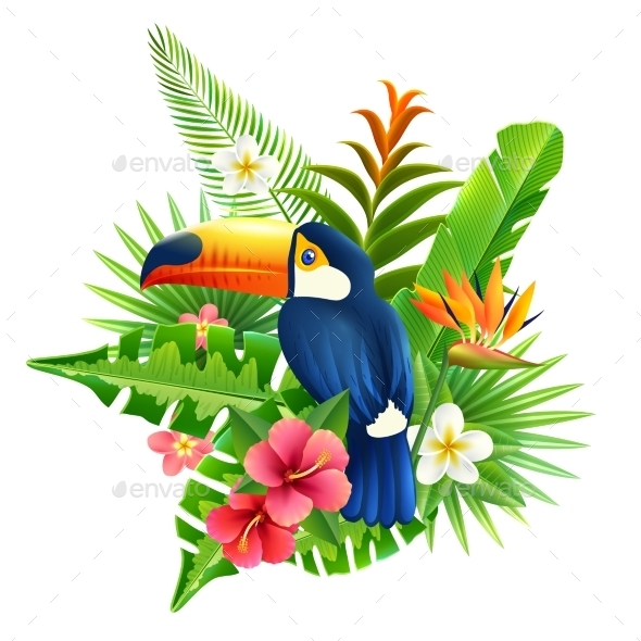 GraphicRiver Tropical Flowers Illustration 11011630
