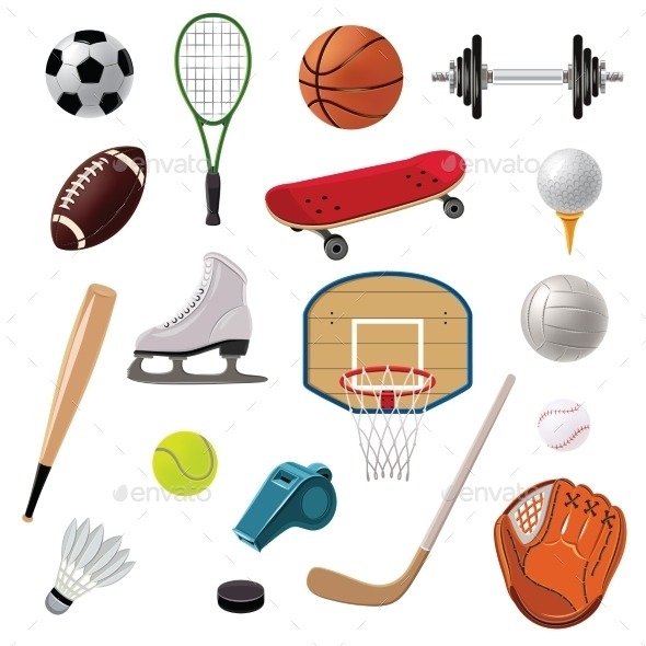 GraphicRiver Sports Equipment Icons Set 11011655